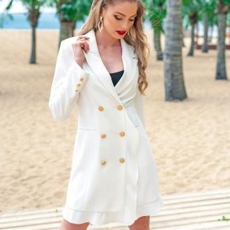 Бяло дълго сако/рокля с къдрички