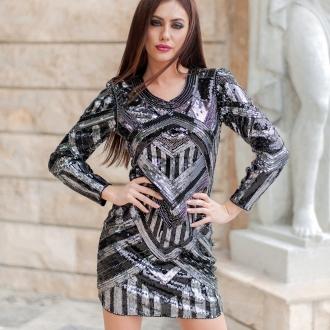 Елегантна рокля със сребърни и черни пайети