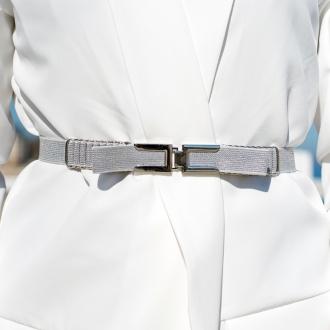 Ластичен колан с панделка - Silver