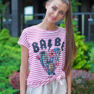Тениска BABE розово райе