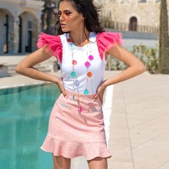 Тениска Candy с розов тюл