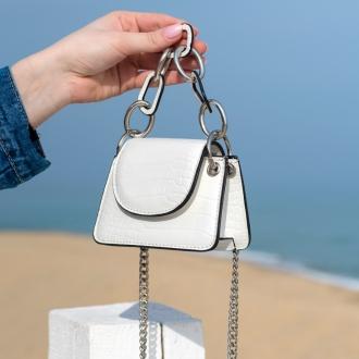 Мини чанта Croco White