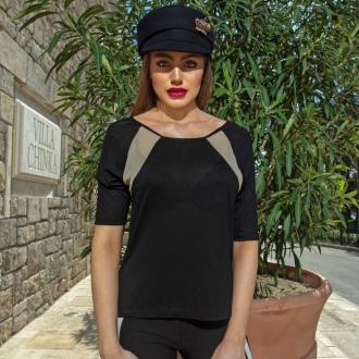 Блуза асиметрична в черно с бежов акцент