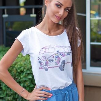 Тениска PInk Bus с кристали