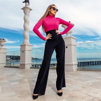 Панталон черен с висока талия и колан с преплитане