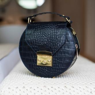 Чанта Vera Pelle с крокодилска текстура в синьо
