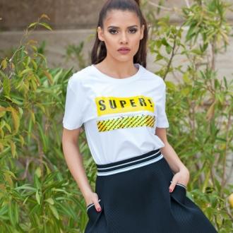 Тениска Super с неоново жълто