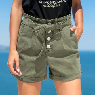 Маслено зелени панталонки с колан