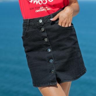 Черна дънкова пола с копчета