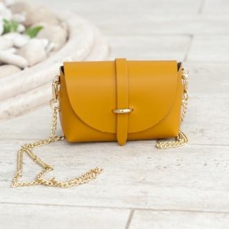 Малка чанта от естествена кожа в цвят горчица