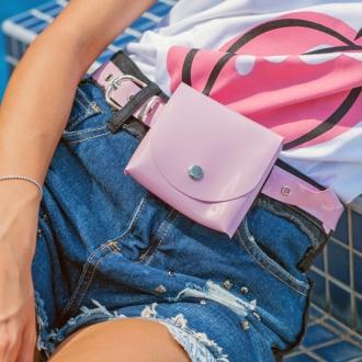 Колан с портмоне в розово