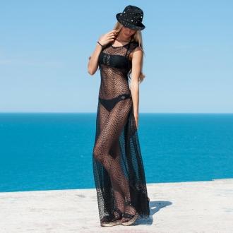 Плажна рокля - черна мрежа PRIVE