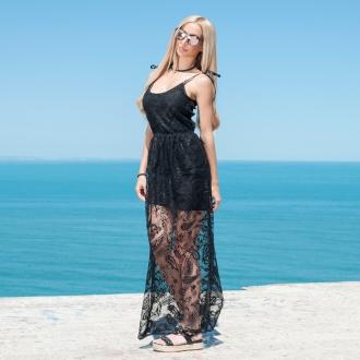 Дантелена рокля с тънки презрамки Prive