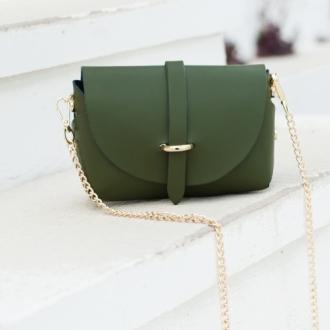 Малка чанта от естествена кожа в зелено