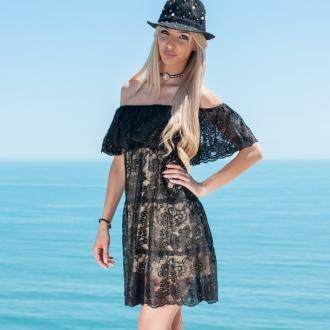 Дантелена рокля от нежна черна дантела и подплата в цвят пудра Prive - ИЗЧЕРПАНА