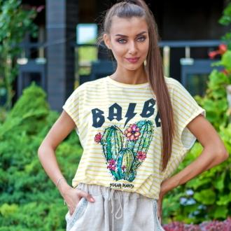 Тениска BABE жълто райе