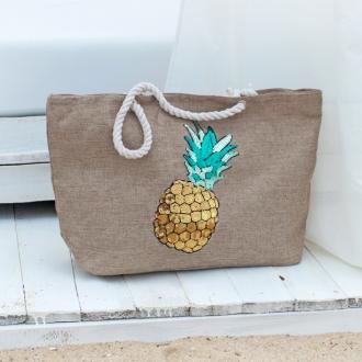 Плажна чанта с декорация ананас - цвят капучино