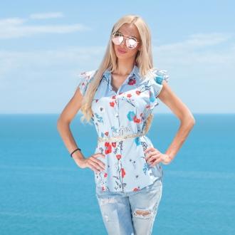 Риза с флорални мотиви и къдри на ръкавите - ИЗЧЕРПАНА