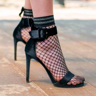 Чорапи мрежа с панделка и сребрист кант