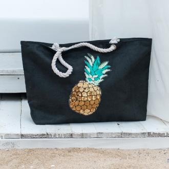 Плажна чанта с декорация ананас - черна