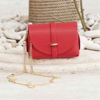 Малка чанта от естествена кожа в червено
