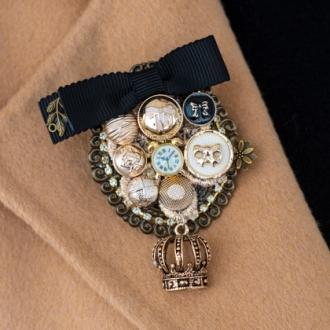 Брошка Golden Crown с панделка