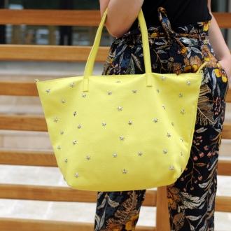 Дамска чанта от естествена кожа в жълто