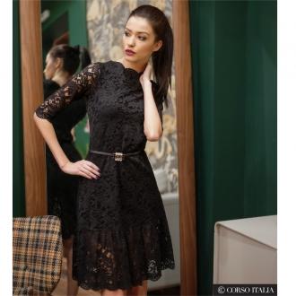 Дамска рокля от черна дантела CLASSY - ИЗЧЕРПАНА