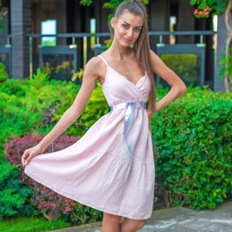 Ленена рокля PURE LINO в розово
