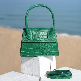 Чанта Croco зелена с дръжка - Genuine leather