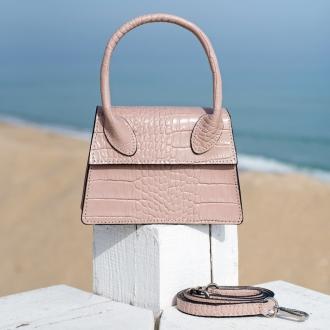 Чанта Croco пепел от рози с дръжка - Genuine leather
