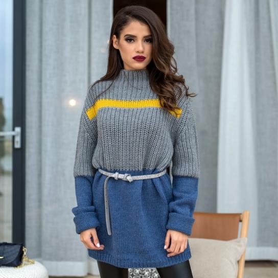 Пуловер Grey heat от плътна вълна - Oversized
