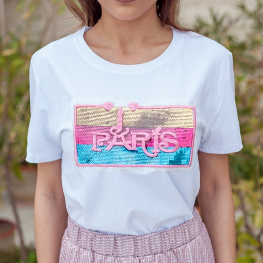 Тениска I Love Paris бяла