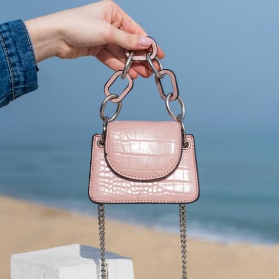 Мини чанта Croco Pink