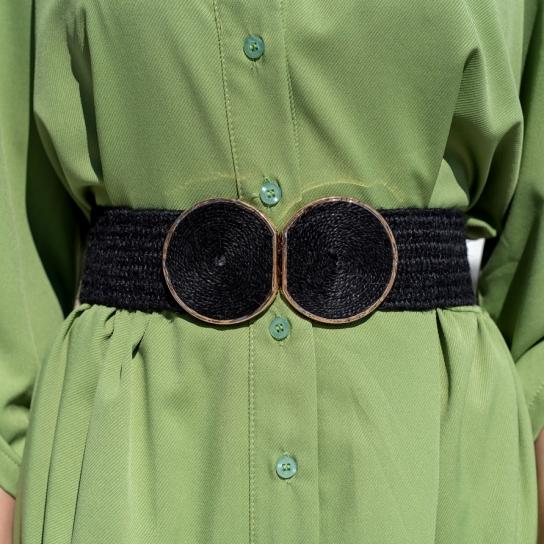 Черен колан с плетена метална катарама