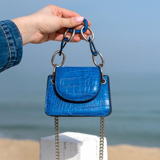 Мини чанта Croco Dark Blue