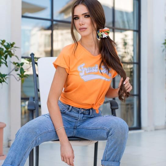Тениска Оранжева TRUST ME