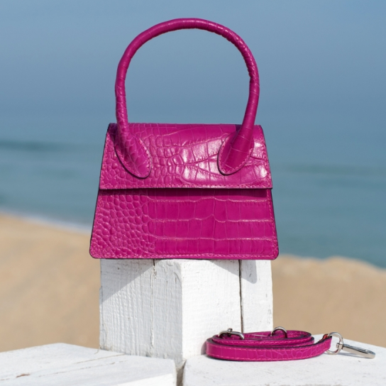 Чанта Croco цикламена с дръжка - Genuine leather