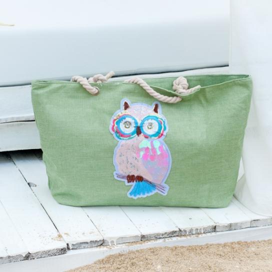 Плажна чанта с декорация бухал - цвят мента