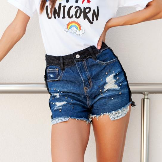 Дънкови панталонки с капси DUECOLORS