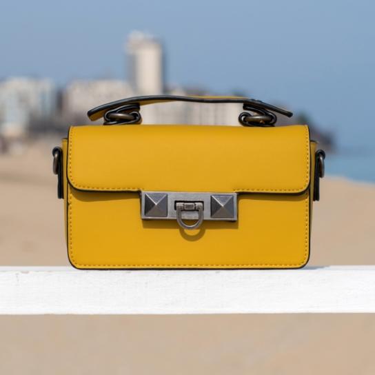 Чанта Mustard с кожена дръжка