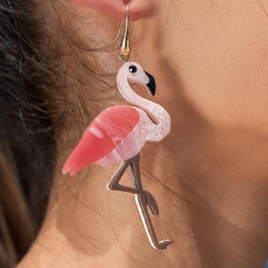 Обици фламинго и палма