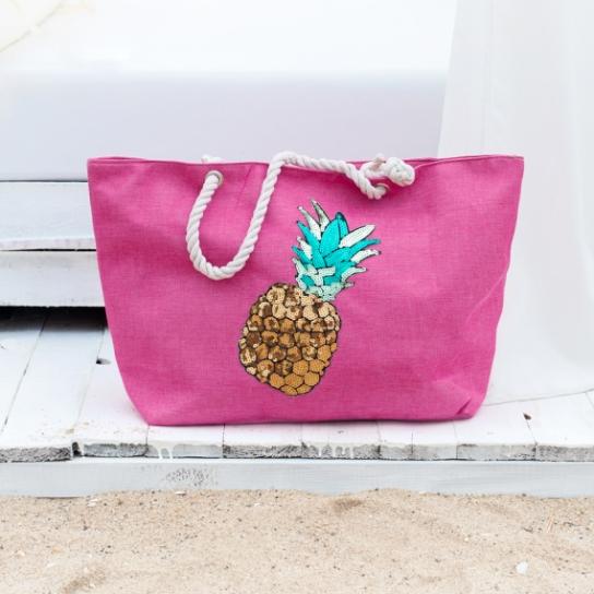 Плажна чанта с декорация ананас - розова