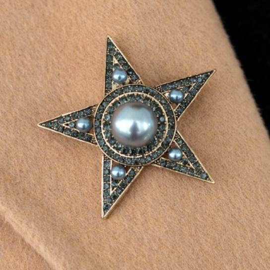 Брошка звезда сива перла