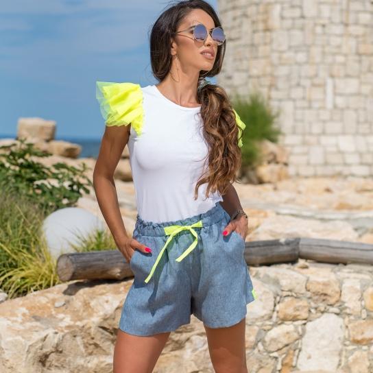 Къси панталонки PURO LINO BLUE от 100% лен