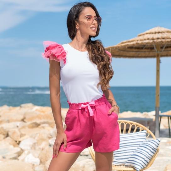 Къси панталонки PURO LINO FUSCIA от 100% лен