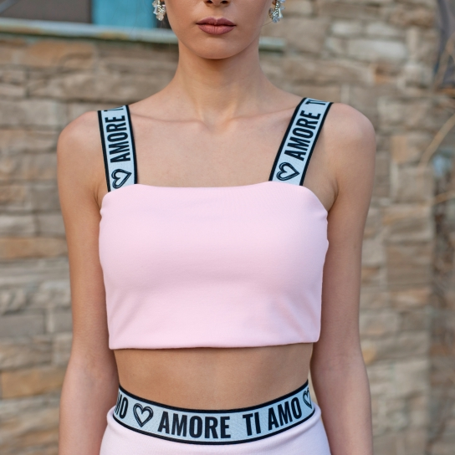 Топ Ti Amo Amore в розово