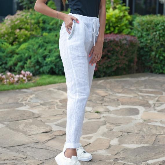 Ленен панталон PURO LINO в бяло