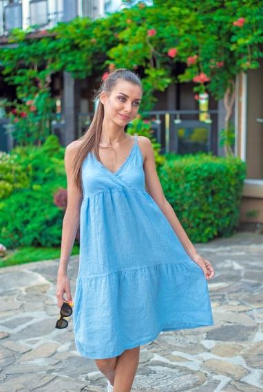 Ленена рокля PURE LINO в синьо