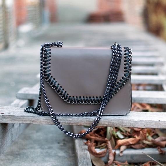 Чанта от естествена кожа в цвят мока